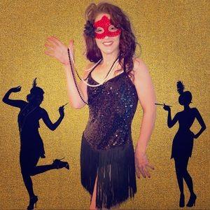 Flapper dance bodysuit dress Halloween costume XL